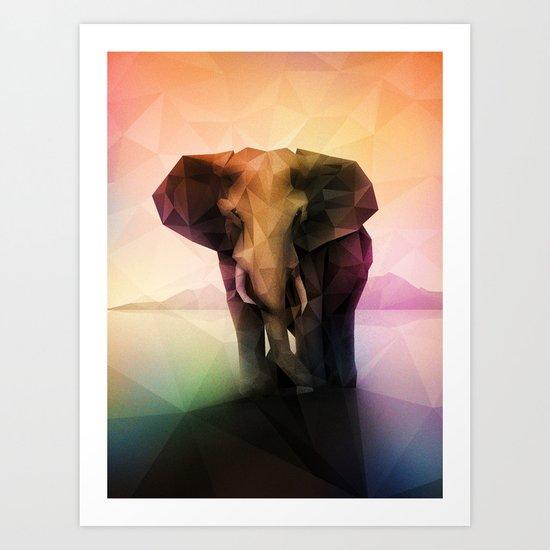 Elephant (Low Poly Multi) Art Print