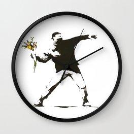 Banksy - Man Throwing Flowers - Antifa vs Police Manifestation Design For Men, Women, Poster Wall Clock