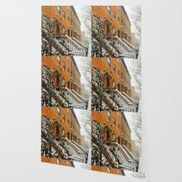 Brooklyn Wintertime is coming Brownstone Wallpaper