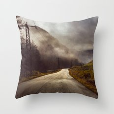Foggy road Throw Pillow