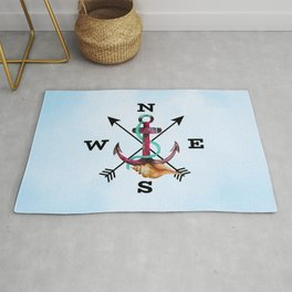 Watercolor Anchor Seashell Arrows and NSEW Rug
