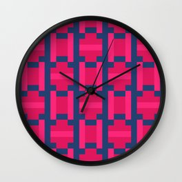 PUZZLE bright red and pink shapes on navy blue background Wall Clock