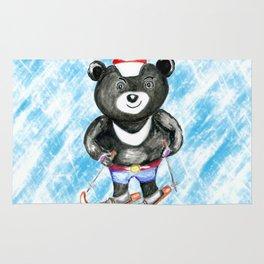 Bear on ski Rug