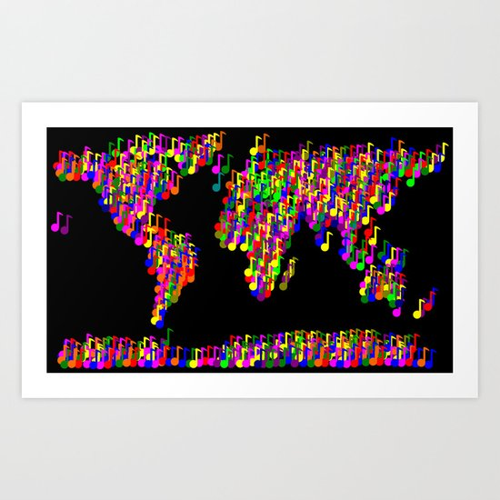 World Map Music Notes Art Print
