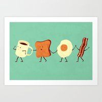 vintage map Art Prints featuring Let's All Go And Have Breakfast by Teo Zirinis