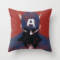 captain Throw Pillows featuring The Captain by Purple Cactus