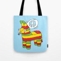 rasta Tote Bags featuring Rasta pinata by Dmitriylo