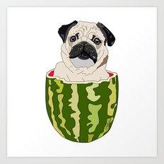 Pug Watermelon Art Print
