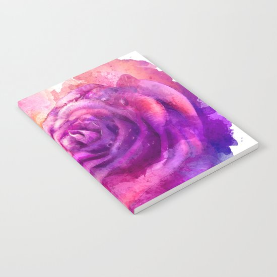 Watercolor rose painting Notebook