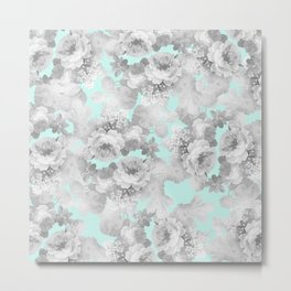 Vintage black white teal stylish chic roses floral Metal Print