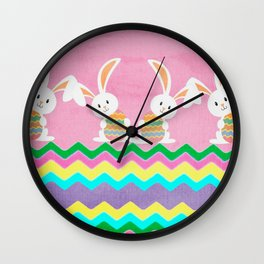 Easter Chevron Pattern Wall Clock