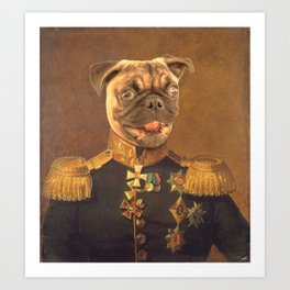 General Pugs Portrait Painting | Pug Lovers only! Art Print