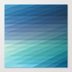 Fig. 042 Blue Geometric Diagonal Stripes Canvas Print