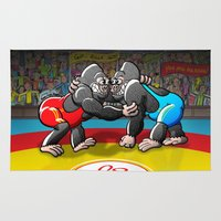 wrestling Area & Throw Rugs featuring Olympic Wrestling Gorillas by Zoo&co on Society6 Products