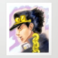jjba Art Prints featuring Jotaro Kujo JJBA by Pruoviare