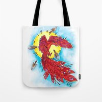 phoenix Tote Bags featuring Phoenix by missfortunetattoo