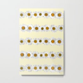 Daisy Chains on Pastel Yellow Metal Print