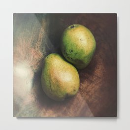 Florentine Fruit - Green Anjous - Pear Still Life Metal Print