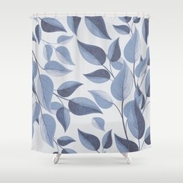 blue leaves Shower Curtain