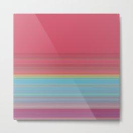 Dark Pink Blue Stripe Design Metal Print