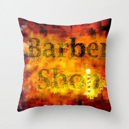 Barber Shop Sign Throw Pillow