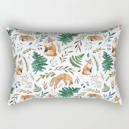 Foxes and Ferns Pattern Rectangular Pillow