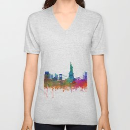 New York City Skyline Watercolor by zouzounioart Unisex V-Neck