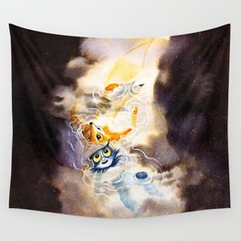 Little Owl Boy and the Milky Way Wall Tapestry