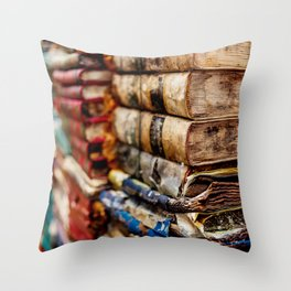 Stacks and stacks of books, Venice Italy Throw Pillow