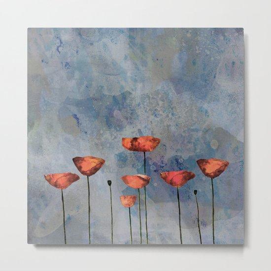 Poppyfield against the blue sky- abstract watercolor artwork Metal Print