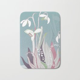 snowdrops & lily of the valley spring pattern drawing Bath Mat