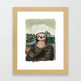 The Mona Sloth  Framed Art Print