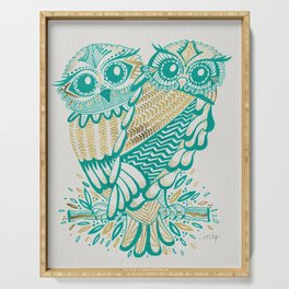 Owls – Turquoise & Gold Serving Tray