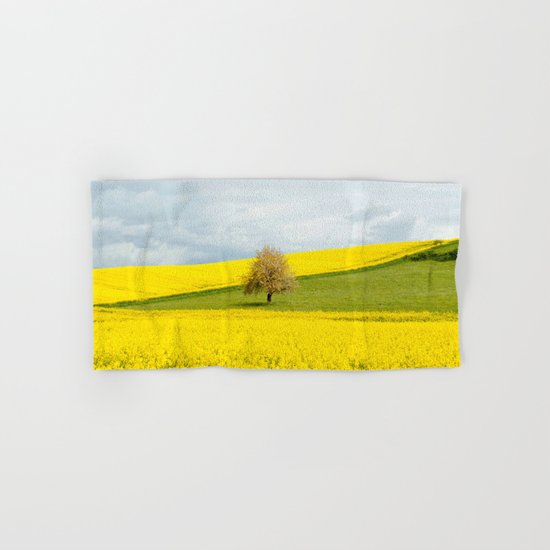 Tree in Yellow Field Hand & Bath Towel