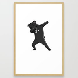 Funny Dabbing Staffordshire Bull Terrier Dog Dab Dance Framed Art Print