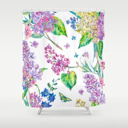 watercolor purple flowers Shower Curtain