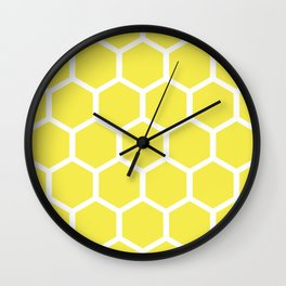 Honeycomb pattern - lemon yellow Wall Clock