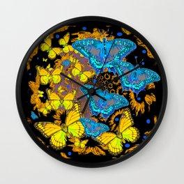 Oriental Style Blue & Gold Butterflies Nature Art Wall Clock