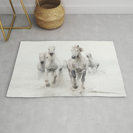 Camargue White Horses Running in Water - Nature Photography Rug