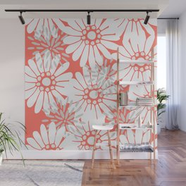 Summer Flowers Living Coral Wall Mural