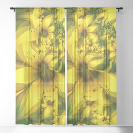Happiness Is a Meadow of Yellow Daffodil Flowers Sheer Curtain