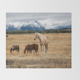 Mountain Horse - Western Style in the Grand Tetons Throw Blanket