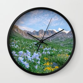 COLORADO HIGH COUNTRY PHOTO -  MOUNTAIN IMAGE - SUMMER WILDFLOWERS PICTURE - LANDSCAPE PHOTOGRAPHY Wall Clock