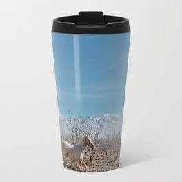 white horse Bolivia Travel Mug