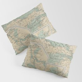 Vintage Great Lakes Lighthouse Map (1898) Pillow Sham