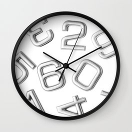 Silver numbers on white Wall Clock