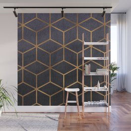 Dark Purple and Gold - Geometric Textured Gradient Cube Design Wall Mural