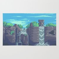 8 bit Area & Throw Rugs featuring 8-bit landscape by Dam90