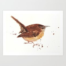 wren, tiny bird, cute birdie, bird painting, songbird, bird lover art Art Print