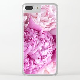 Pink Peonies Shabby Chic Cottage Peonies Clear iPhone Case